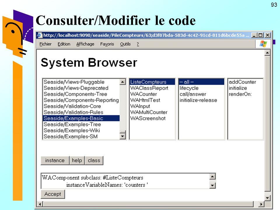 93 Consulter/Modifier le code