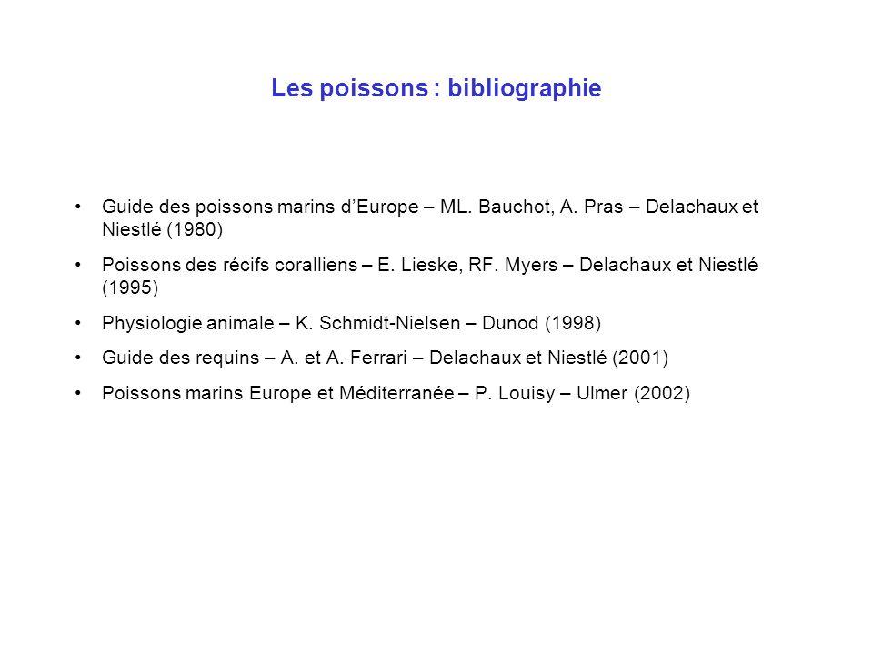 Les poissons : bibliographie Guide des poissons marins dEurope – ML. Bauchot, A. Pras – Delachaux et Niestlé (1980) Poissons des récifs coralliens – E