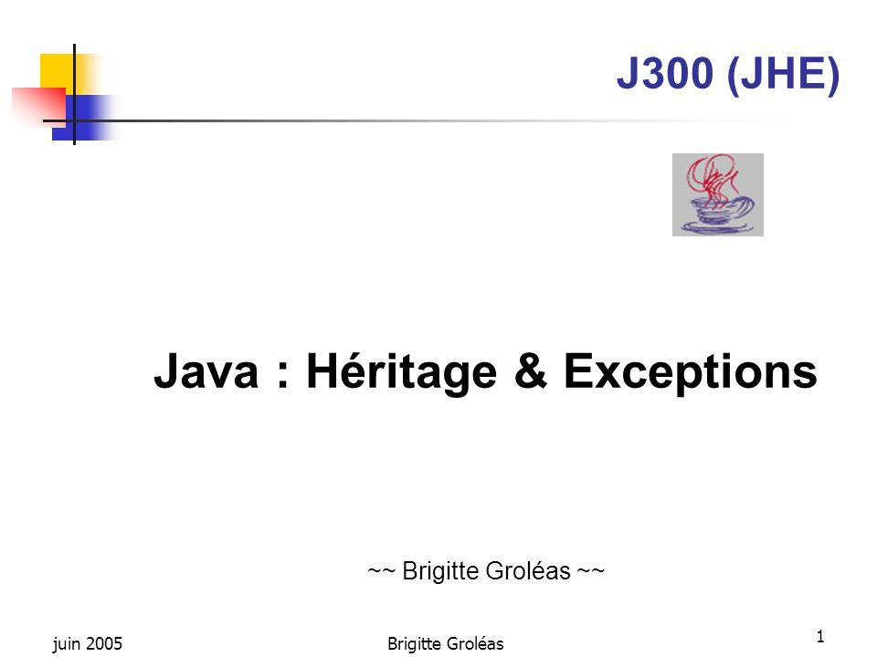 juin 2005Brigitte Groléas 22 Dérivation dinterfaces Une interface peut dériver dune ou plusieurs autres interfaces, ainsi lhéritage multiple est possible pour les interfaces interface Bidule {...} interface Machin {...