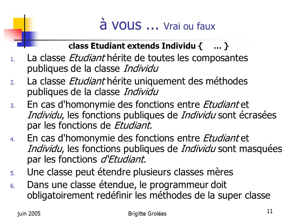 juin 2005Brigitte Groléas 11 class Etudiant extends Individu {… } 1. La classe Etudiant hérite de toutes les composantes publiques de la classe Indivi