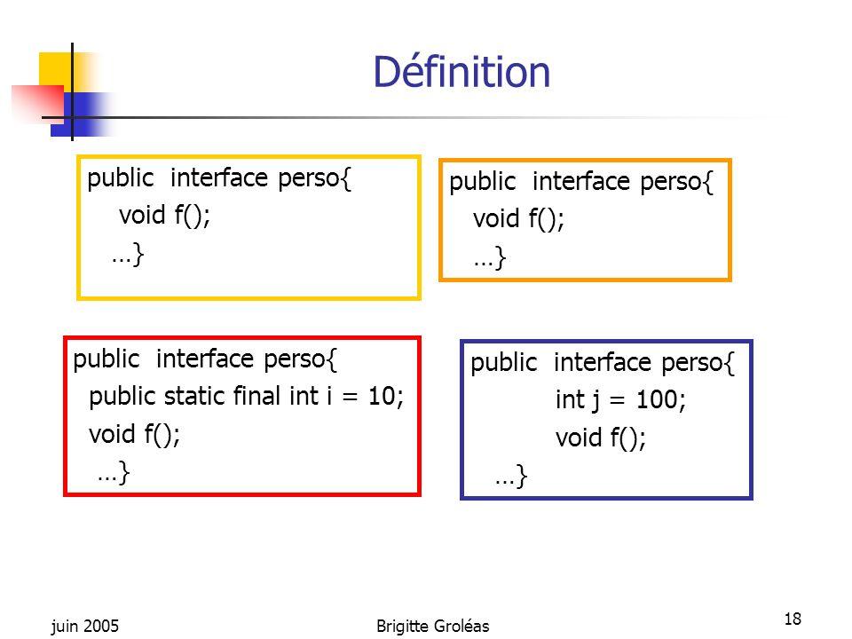 juin 2005Brigitte Groléas 18 Définition public interface perso{ void f(); …} public interface perso{ void f(); …} public interface perso{ public stati
