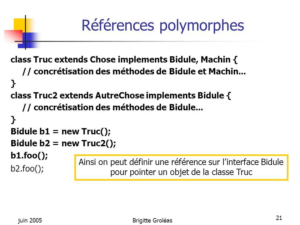 juin 2005Brigitte Groléas 21 Références polymorphes class Truc extends Chose implements Bidule, Machin { // concrétisation des méthodes de Bidule et M
