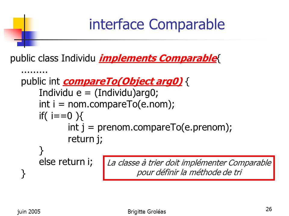juin 2005Brigitte Groléas 26 interface Comparable public class Individu implements Comparable{......... public int compareTo(Object arg0) { Individu e