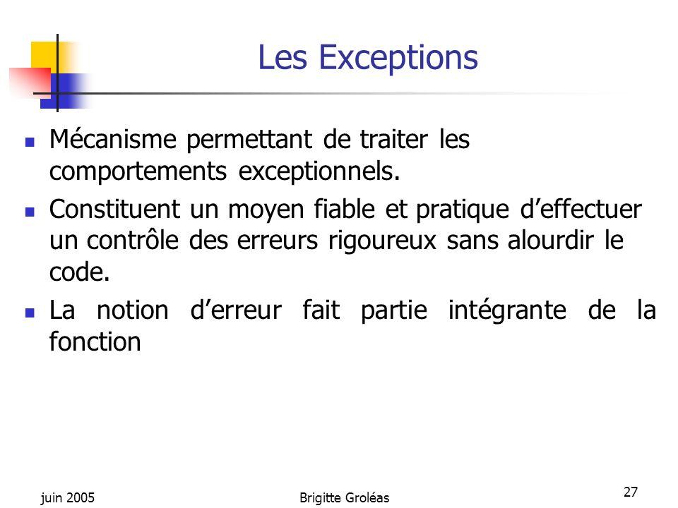 juin 2005Brigitte Groléas 27 Les Exceptions Mécanisme permettant de traiter les comportements exceptionnels. Constituent un moyen fiable et pratique d