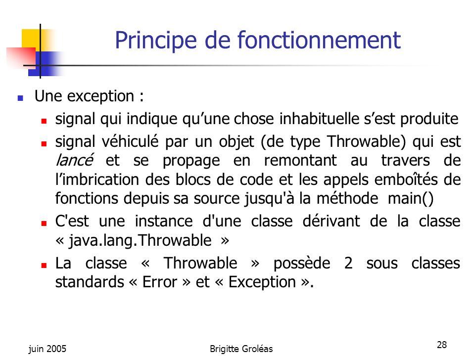 juin 2005Brigitte Groléas 28 Principe de fonctionnement Une exception : signal qui indique quune chose inhabituelle sest produite signal véhiculé par