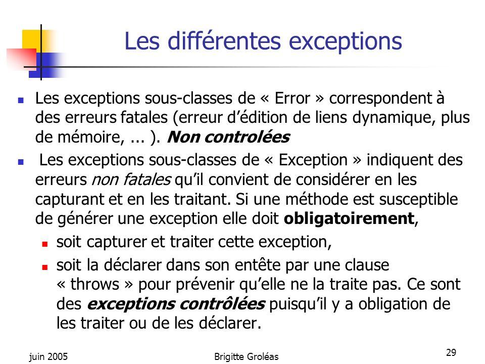 juin 2005Brigitte Groléas 29 Les différentes exceptions Les exceptions sous-classes de « Error » correspondent à des erreurs fatales (erreur dédition