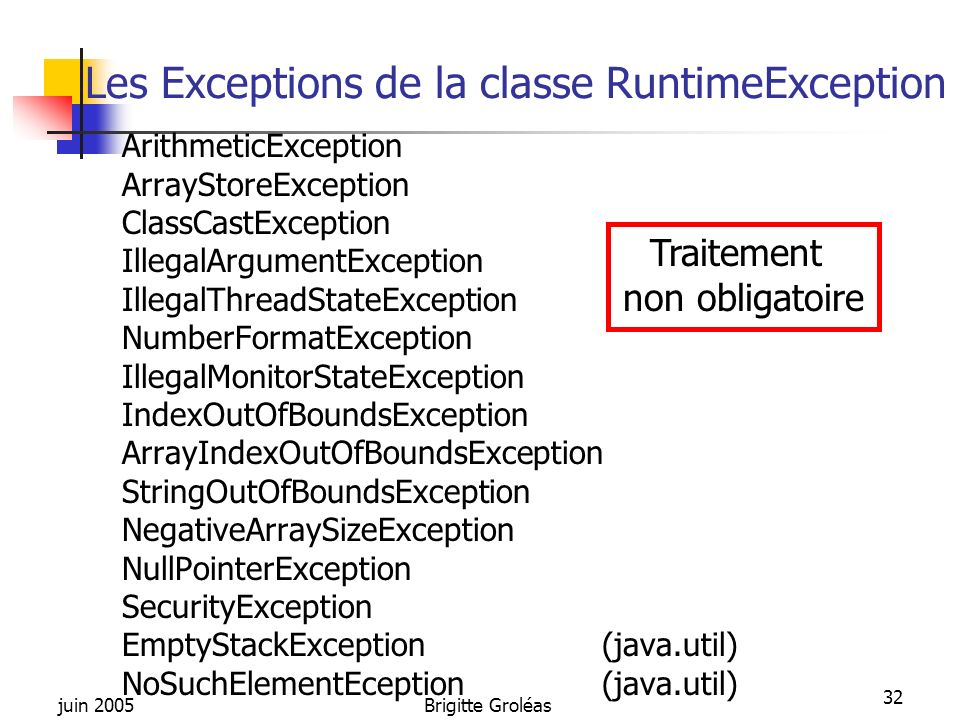 juin 2005Brigitte Groléas 32 Les Exceptions de la classe RuntimeException ArithmeticException ArrayStoreException ClassCastException IllegalArgumentEx
