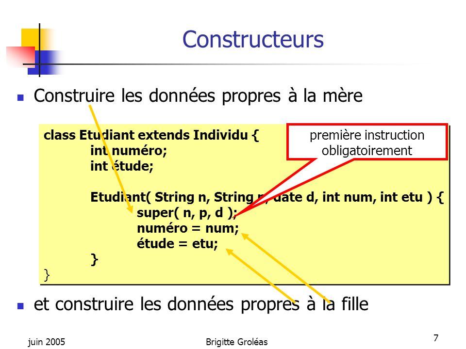 juin 2005Brigitte Groléas 28 Principe de fonctionnement Une exception : signal qui indique quune chose inhabituelle sest produite signal véhiculé par un objet (de type Throwable) qui est lancé et se propage en remontant au travers de limbrication des blocs de code et les appels emboîtés de fonctions depuis sa source jusqu à la méthode main() C est une instance d une classe dérivant de la classe « java.lang.Throwable » La classe « Throwable » possède 2 sous classes standards « Error » et « Exception ».