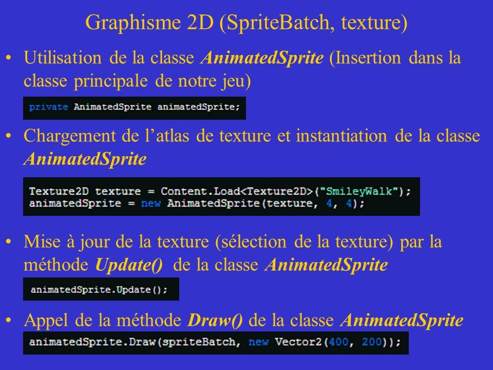 Graphisme 2D (SpriteBatch, texture) Utilisation de la classe AnimatedSprite (Insertion dans la classe principale de notre jeu) Chargement de latlas de