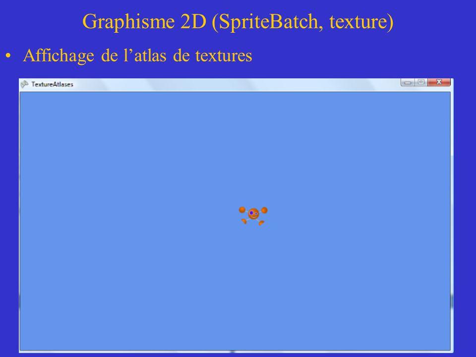 Graphisme 2D (SpriteBatch, texture) Affichage de latlas de textures