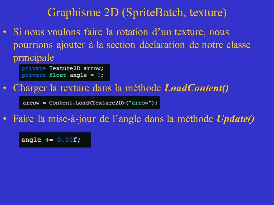 Graphisme 2D (SpriteBatch, texture) Si nous voulons faire la rotation dun texture, nous pourrions ajouter à la section déclaration de notre classe pri