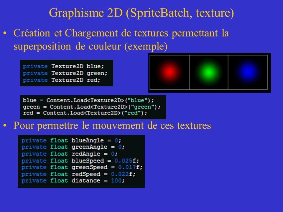 Graphisme 2D (SpriteBatch, texture) Création et Chargement de textures permettant la superposition de couleur (exemple) Pour permettre le mouvement de