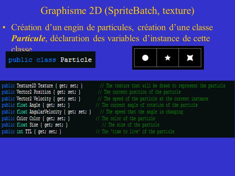 Graphisme 2D (SpriteBatch, texture) Création dun engin de particules, création dune classe Particule, déclaration des variables dinstance de cette cla