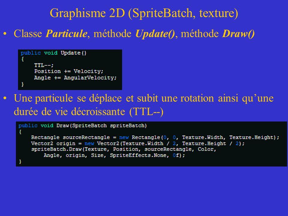 Graphisme 2D (SpriteBatch, texture) Classe Particule, méthode Update(), méthode Draw() Une particule se déplace et subit une rotation ainsi quune duré