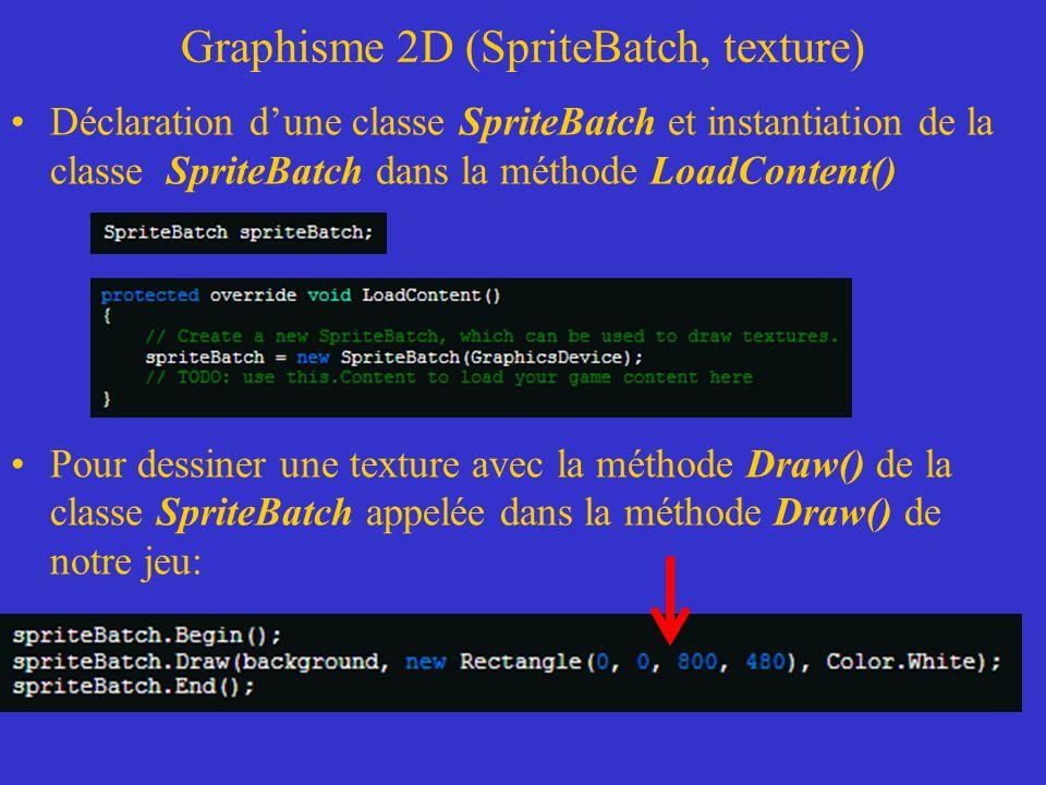 Graphisme 2D (SpriteBatch, texture) Déclaration dune classe SpriteBatch et instantiation de la classe SpriteBatch dans la méthode LoadContent() Pour d