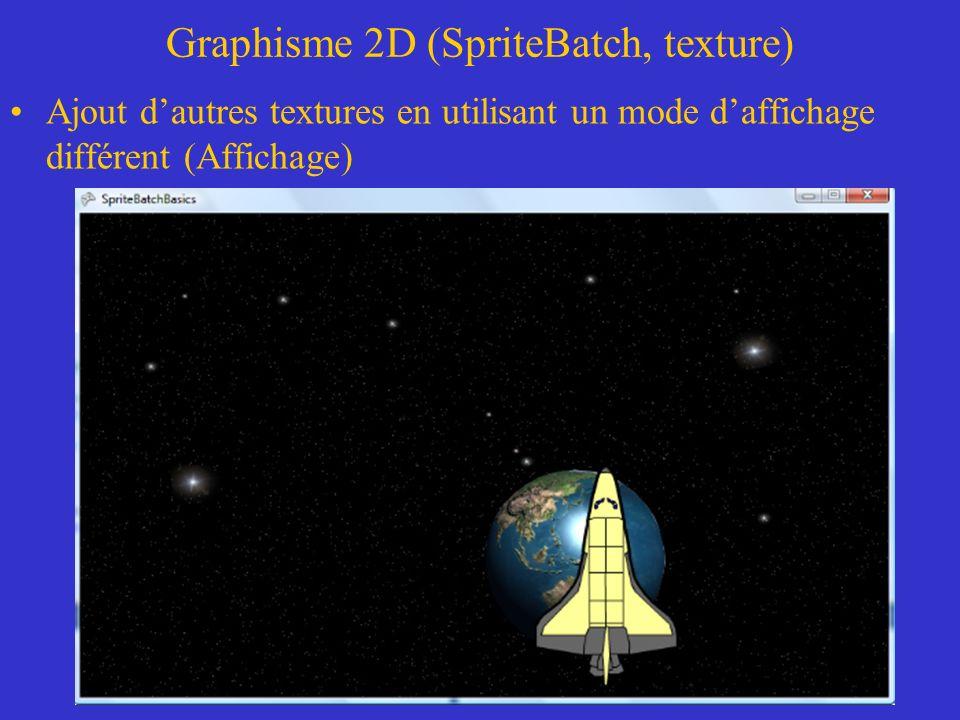 Graphisme 2D (SpriteBatch, texture) Les effets de superposition de couleur et de transparence permettent de superposer des objets.