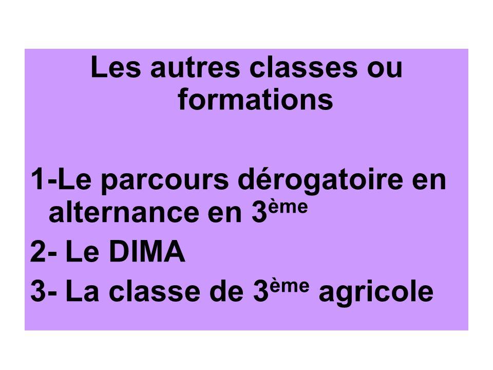 Les autres classes ou formations 1-Le parcours dérogatoire en alternance en 3 ème 2- Le DIMA 3- La classe de 3 ème agricole