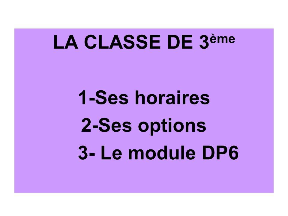 LA CLASSE DE 3 ème 1-Ses horaires 2-Ses options 3- Le module DP6