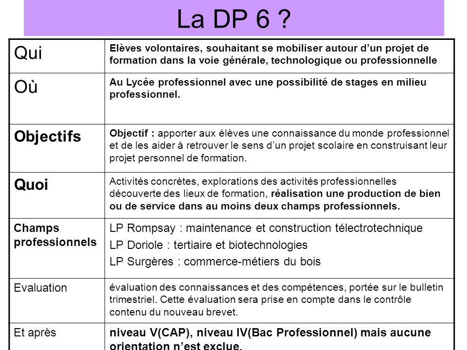 La DP 6 ? Qui Elèves volontaires, souhaitant se mobiliser autour dun projet de formation dans la voie générale, technologique ou professionnelle Où Au