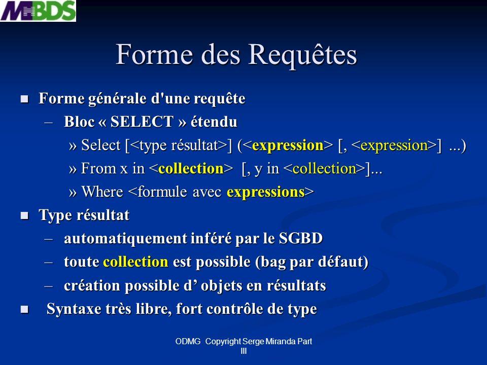 ODMG Copyright Serge Miranda Part III Forme des Requêtes Forme générale d'une requête Forme générale d'une requête – Bloc « SELECT » étendu »Select [