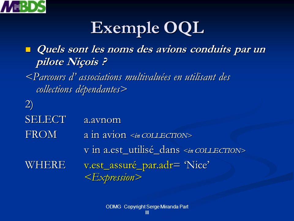 ODMG Copyright Serge Miranda Part III Exemple OQL Quels sont les noms des avions conduits par un pilote Niçois ? Quels sont les noms des avions condui