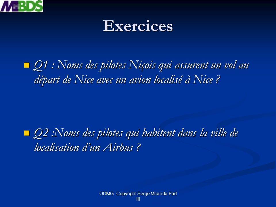 ODMG Copyright Serge Miranda Part III Exercices Q1 : Noms des pilotes Niçois qui assurent un vol au départ de Nice avec un avion localisé à Nice ? Q1