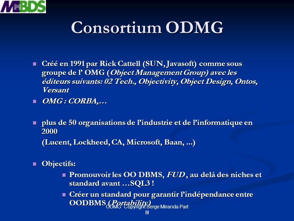 ODMG Copyright Serge Miranda Part III Historique du standard « OO » Objectif « portabilité Code » Première réunion à linitiative de Rick Catell chez Sun en Sept 91 Première réunion à linitiative de Rick Catell chez Sun en Sept 91 ODMG 1.0 (1993) : 5 Editeurs ODMG 1.0 (1993) : 5 Editeurs ODL, OQL, Interface C++, Smalltalk ODL, OQL, Interface C++, Smalltalk ODMG 2.0 (1996) : 10 Editeurs (Poet, Lucent, Windward, American Man, Barry) ODMG 2.0 (1996) : 10 Editeurs (Poet, Lucent, Windward, American Man, Barry) Interface Java (Java Binding), Meta Model, OIF Interface Java (Java Binding), Meta Model, OIF ODMG 3.0 (2000) enrichissement interface Java enrichissement interface Java Accent sur intégration avec OMG et X3H2 ( SQL3) Accent sur intégration avec OMG et X3H2 ( SQL3)