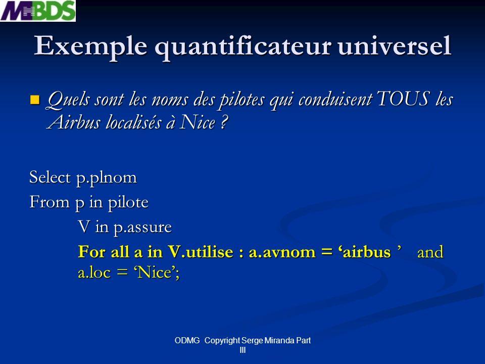 ODMG Copyright Serge Miranda Part III Exemple quantificateur universel Quels sont les noms des pilotes qui conduisent TOUS les Airbus localisés à Nice