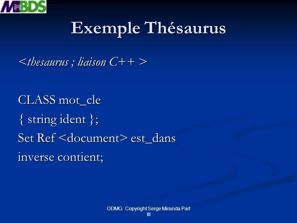ODMG Copyright Serge Miranda Part III Exemple Thésaurus CLASS mot_cle { string ident }; Set Ref est_dans inverse contient;