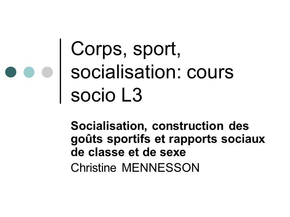 Corps, sport, socialisation: cours socio L3 Socialisation, construction des goûts sportifs et rapports sociaux de classe et de sexe Christine MENNESSON