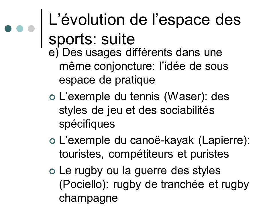 Lévolution de lespace des sports: suite e) Des usages différents dans une même conjoncture: lidée de sous espace de pratique Lexemple du tennis (Waser): des styles de jeu et des sociabilités spécifiques Lexemple du canoë-kayak (Lapierre): touristes, compétiteurs et puristes Le rugby ou la guerre des styles (Pociello): rugby de tranchée et rugby champagne