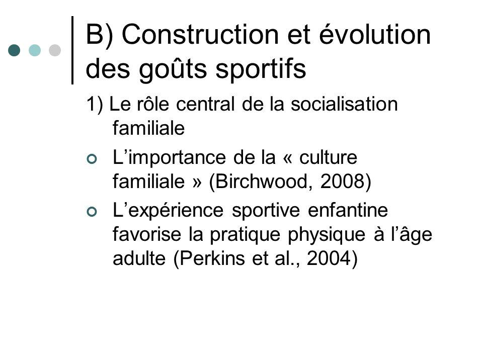 B) Construction et évolution des goûts sportifs 1) Le rôle central de la socialisation familiale Limportance de la « culture familiale » (Birchwood, 2008) Lexpérience sportive enfantine favorise la pratique physique à lâge adulte (Perkins et al., 2004)