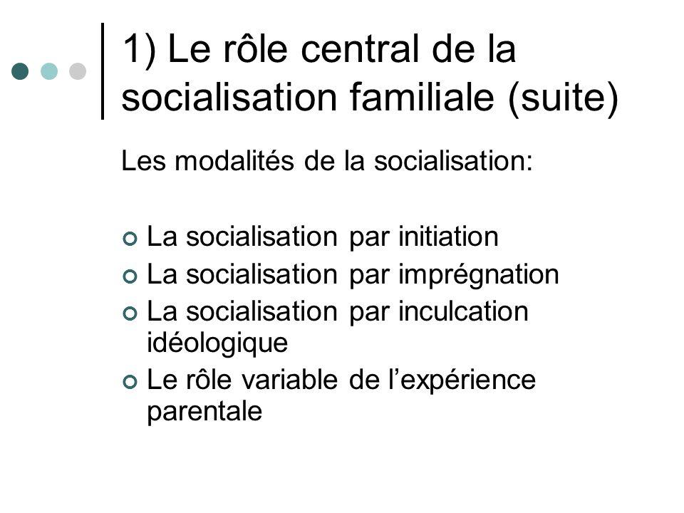 1) Le rôle central de la socialisation familiale (suite) Les modalités de la socialisation: La socialisation par initiation La socialisation par imprégnation La socialisation par inculcation idéologique Le rôle variable de lexpérience parentale