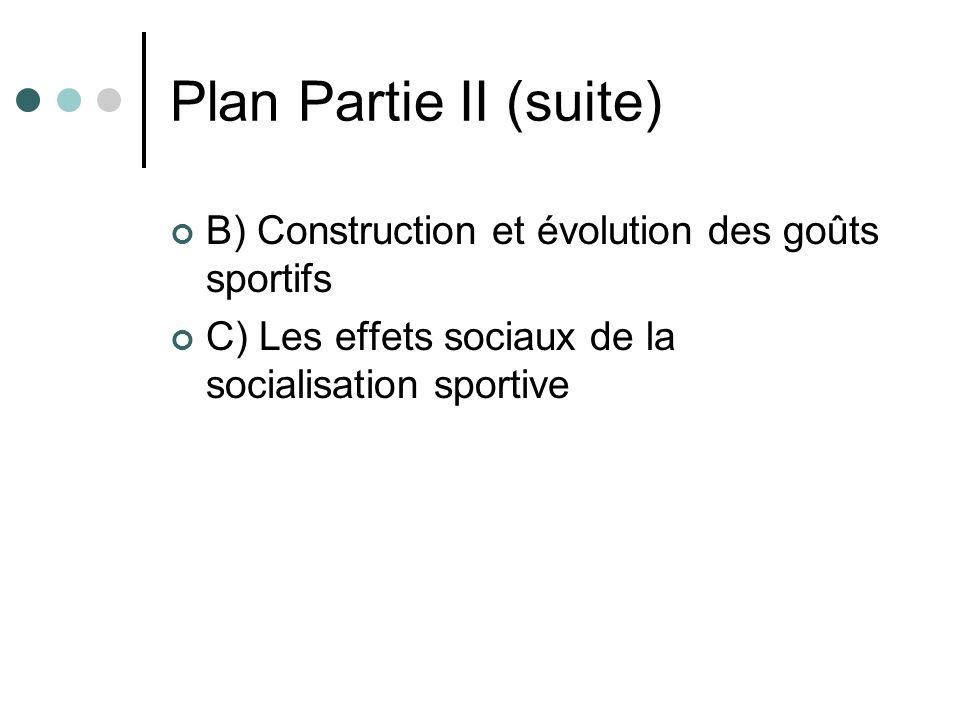 Plan Partie II (suite) B) Construction et évolution des goûts sportifs C) Les effets sociaux de la socialisation sportive