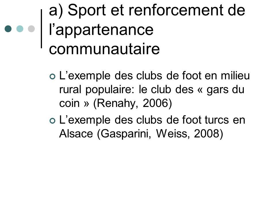 a) Sport et renforcement de lappartenance communautaire Lexemple des clubs de foot en milieu rural populaire: le club des « gars du coin » (Renahy, 2006) Lexemple des clubs de foot turcs en Alsace (Gasparini, Weiss, 2008)
