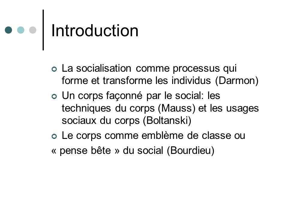 Introduction La socialisation comme processus qui forme et transforme les individus (Darmon) Un corps façonné par le social: les techniques du corps (Mauss) et les usages sociaux du corps (Boltanski) Le corps comme emblème de classe ou « pense bête » du social (Bourdieu)