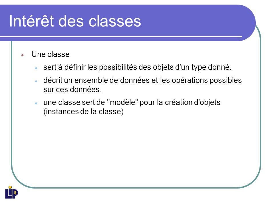 Structure des classes Une classe est un agrégat d attributs et de méthodes : les membres Les membres sont accessibles via une instance de la classe Une méthode particulière, le constructeur, est appelée lors de la création de linstance