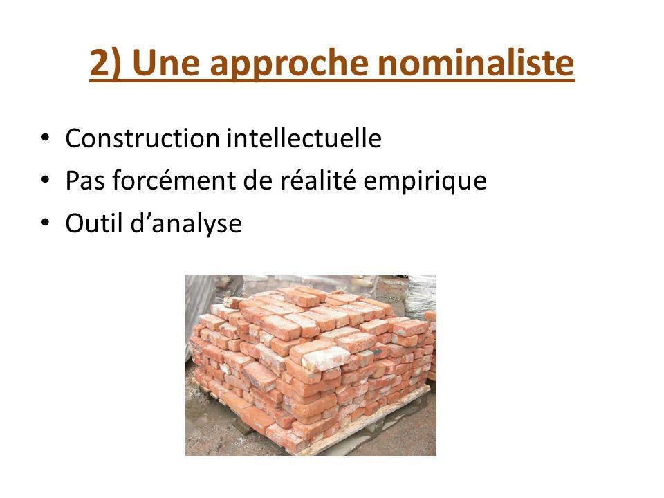 2) Une approche nominaliste Construction intellectuelle Pas forcément de réalité empirique Outil danalyse
