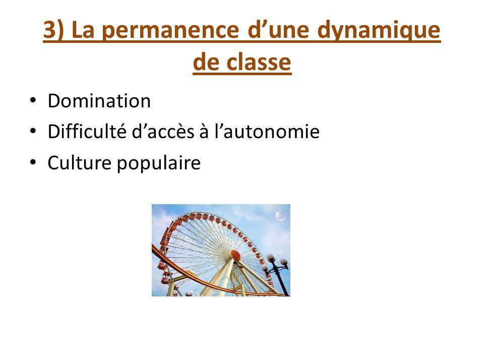 3) La permanence dune dynamique de classe Domination Difficulté daccès à lautonomie Culture populaire