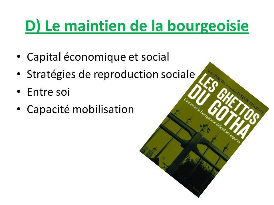 D) Le maintien de la bourgeoisie Capital économique et social Stratégies de reproduction sociale Entre soi Capacité mobilisation