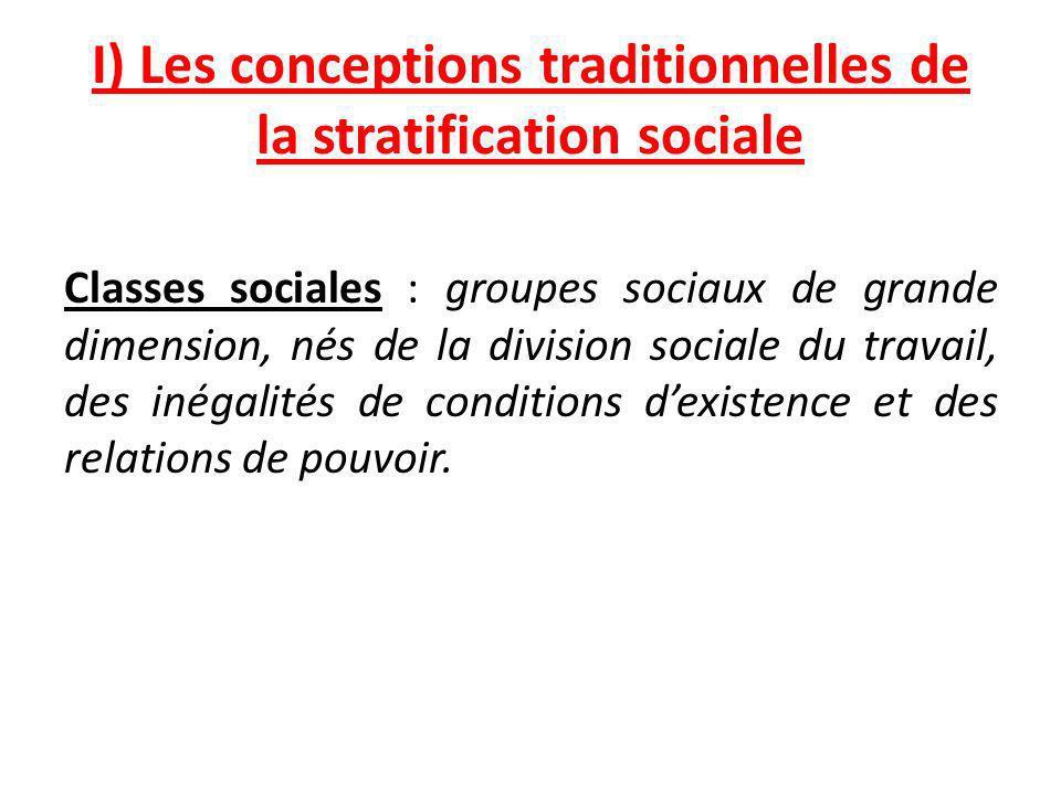 I) Les conceptions traditionnelles de la stratification sociale Classes sociales : groupes sociaux de grande dimension, nés de la division sociale du travail, des inégalités de conditions dexistence et des relations de pouvoir.