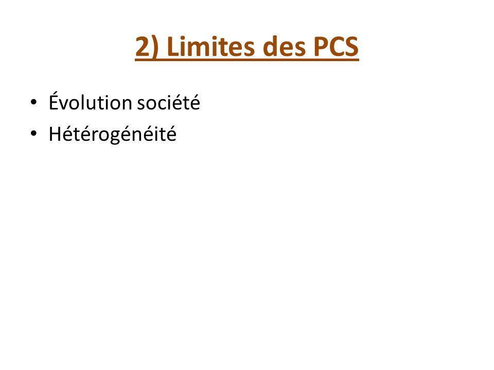 2) Limites des PCS Évolution société Hétérogénéité