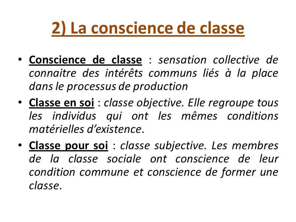 2) La conscience de classe Conscience de classe : sensation collective de connaitre des intérêts communs liés à la place dans le processus de production Classe en soi : classe objective.