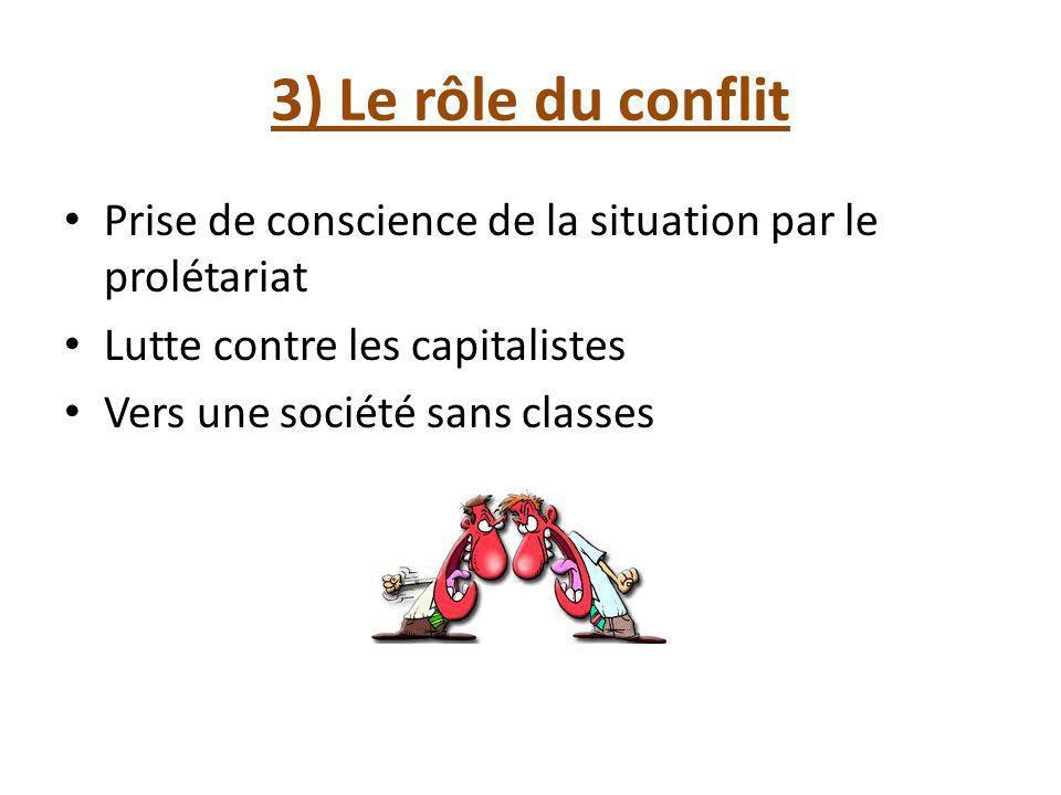 3) Le rôle du conflit Prise de conscience de la situation par le prolétariat Lutte contre les capitalistes Vers une société sans classes
