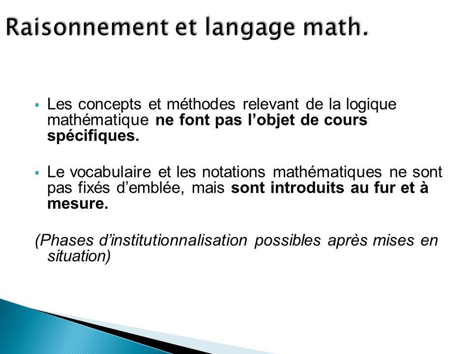 Les concepts et méthodes relevant de la logique mathématique ne font pas lobjet de cours spécifiques.