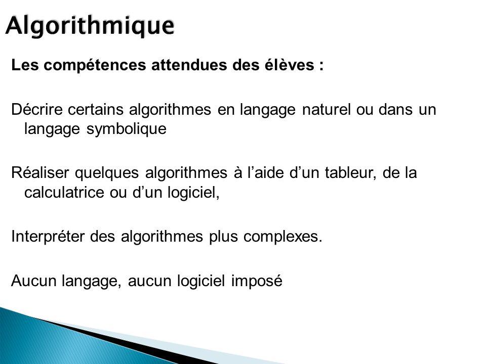 Les compétences attendues des élèves : Décrire certains algorithmes en langage naturel ou dans un langage symbolique Réaliser quelques algorithmes à laide dun tableur, de la calculatrice ou dun logiciel, Interpréter des algorithmes plus complexes.