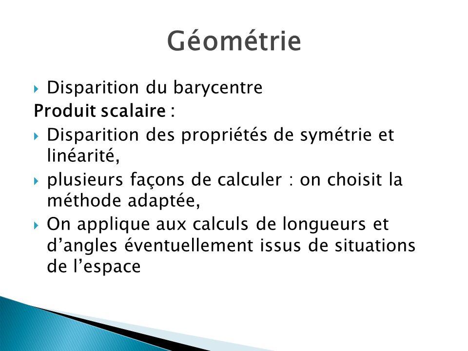 Géométrie Disparition du barycentre Produit scalaire : Disparition des propriétés de symétrie et linéarité, plusieurs façons de calculer : on choisit la méthode adaptée, On applique aux calculs de longueurs et dangles éventuellement issus de situations de lespace