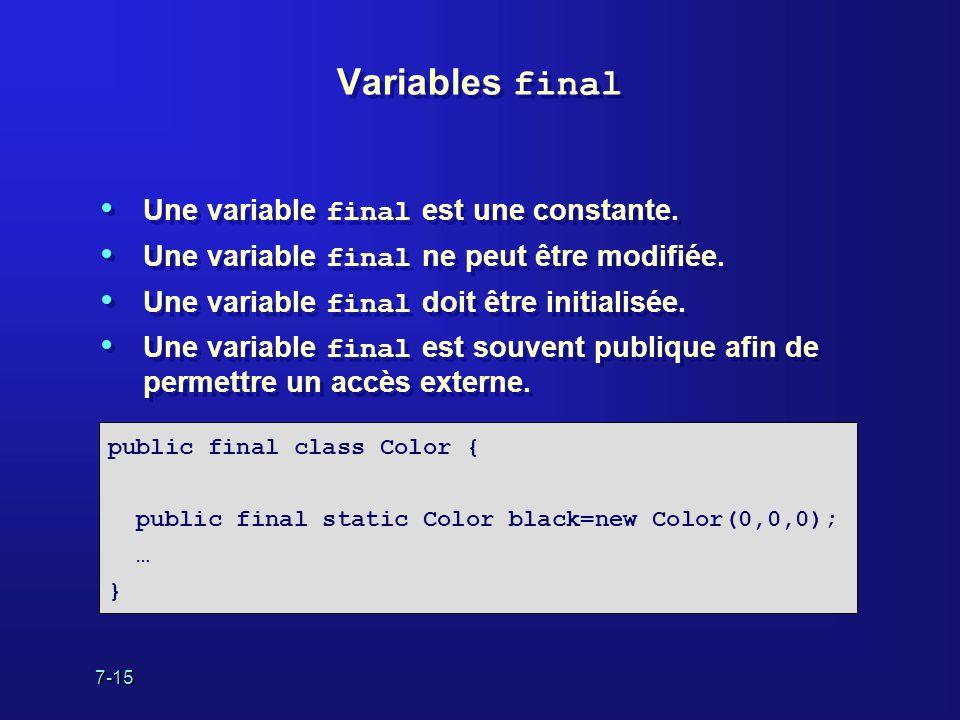 7-15 Variables final Une variable final est une constante. Une variable final ne peut être modifiée. Une variable final doit être initialisée. Une var