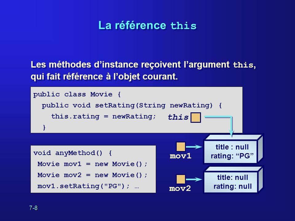 7-8 La référence this Les méthodes dinstance reçoivent largument this, qui fait référence à lobjet courant.