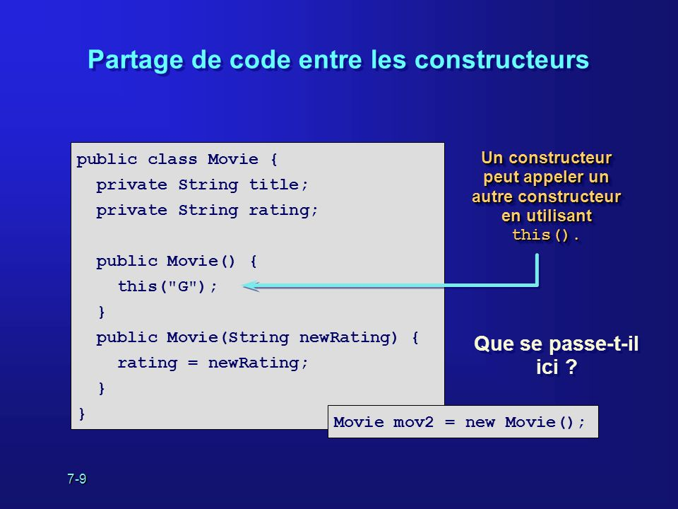 7-9 Partage de code entre les constructeurs public class Movie { private String title; private String rating; public Movie() { this(